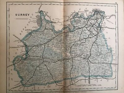 1875 Antique Map;  Cary / Cruchley map of Surrey. Orig Outline Colour