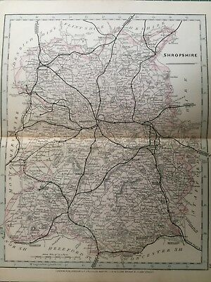 1875 Antique Map;  Cary / Cruchley map of Shropshire. Orig Outline Colour