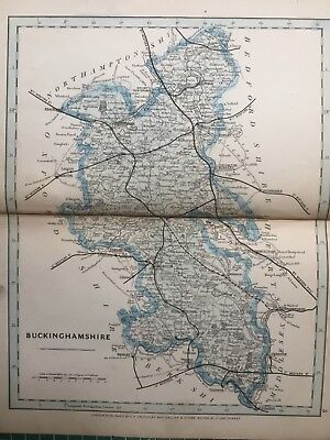 1875 Antique Map;  Cary / Cruchley map of Buckinghamshire. Orig Outline Colour