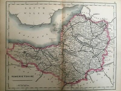1875 Antique Map;  Cary / Cruchley map of Somerset. Orig Outline Colour