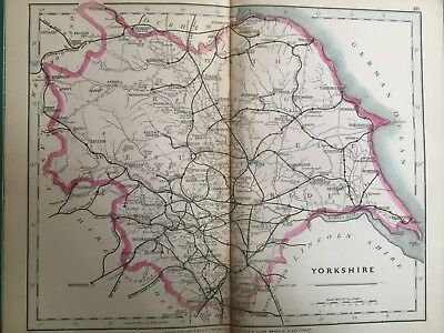 1875 Antique Map;  Cary / Cruchley map of Yorkshire. Orig Outline Colour