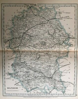 1875 Antique Map;  Cary / Cruchley map of Wiltshire. Orig Outline Colour