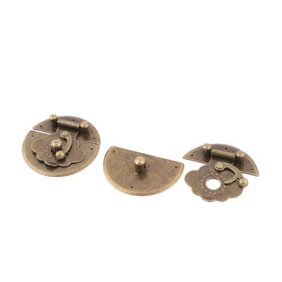 40mm Dia Chest Case Metal Round Base Toggle Box Latch Trunk Lock Brass Tone 2pcs