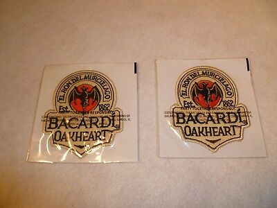 2 New Bacardi OakHeart Embroidered Patches - Sealed in packages
