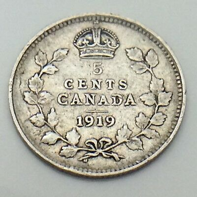 1919 Canada Small 5 Five Cents Silver Circulated Canadian Coin E781