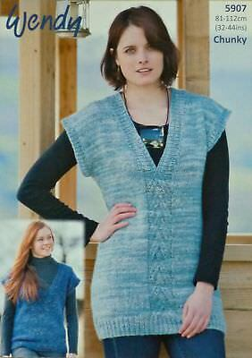 cea8fb472010 KNITTING PATTERN LADIES Sleeveless Tunic or Jumper Chunky Wendy 5907 ...