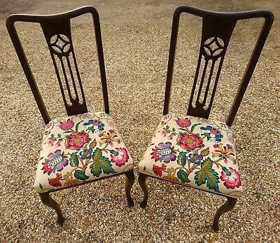 Two late Victorian antique upholstered mahogany Queen Anne style dining chairs