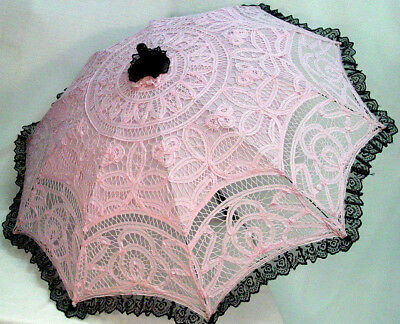 Cotton Lace Parasol PInk Black battenburg Victorian Edwardian vintage style new
