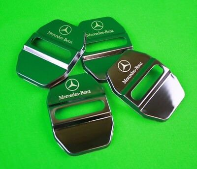 Stainless Black Car Door Lock Ring Protective Cover 4pcs For Mercedes Benz *NV2