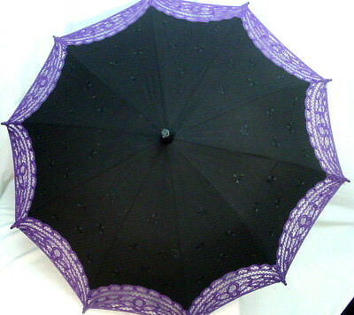 Cotton Parasol Black with purple Battenburg lace Victorian Edwardian hook style