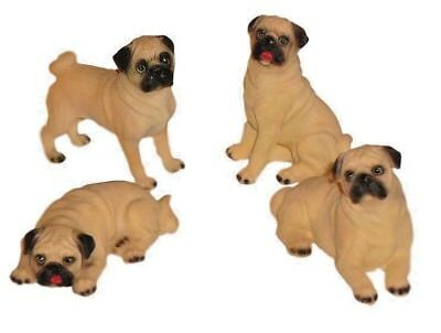"Set of 4 Different Adorable PUG Mini 4"" Ploy-Resin Life Like Figurines"