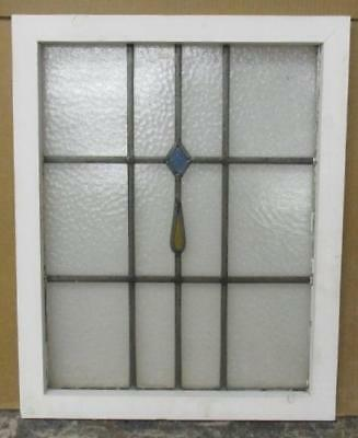 "MID SIZED OLD ENGLISH LEADED STAINED GLASS WINDOW Simple Geometric 19.25"" x 24"""