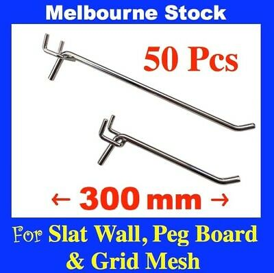 PS-H  50x 300mm PegBoard Slatwall Slat Wall Peg Board Panel Grid Mesh hooks