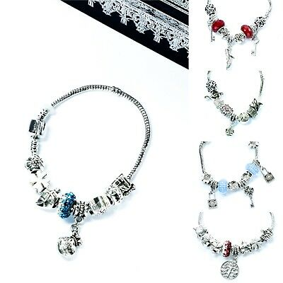 Ladies Jewellery Charm Bracelet Beads Birthday Mothers Day Friends Gifts Bangle