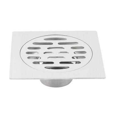 Home Stainless Steel Square Design Sink Strainer Floor Drain Cover Silver Tone