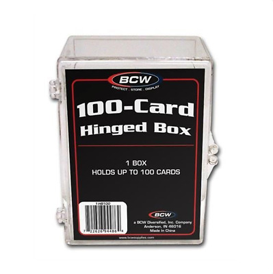 (2) BCW 100 Count Hinged Plastic Storage Boxes Sports Cards Trading Card