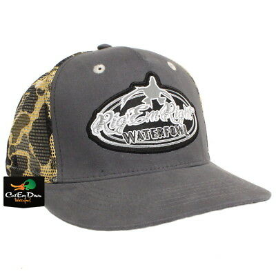 22dd81421b2 Rig em Right Waterfowl Gray Trucker Hat With Vintage Camo Mesh And Logo  Patch