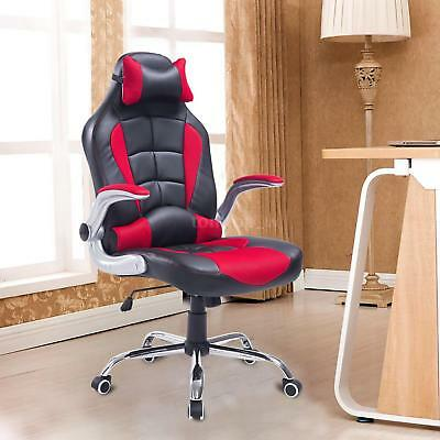 PU Leather Racing Office Chair Adjustable Recliner Gaming Computer M2U4