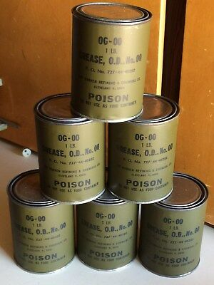 Two (2) 1 Lb Cans Of Vintage Wwii (?) Military Grease Og-Oo Viscosity - Nos