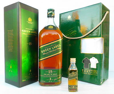 Johnnie Walker Green Label Largest 1.5 Litre & Smallest 50ML -Polo Shirt Pack!