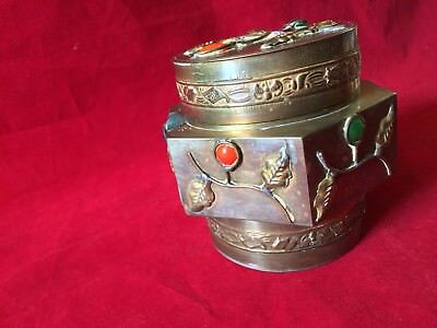 "Chinese antique brass box with Lid and Multi-Color cabuchons 3 3/4"" Tall,4"" Wide"