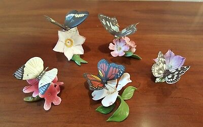 Set Of 5 Porcelain Bisque Butterflies Of The World By Franklin Mint * Exc Cond.