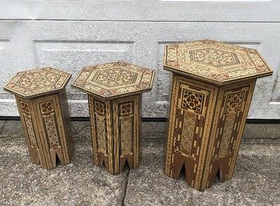 A Set Of Three SYRIAN Moorish Octagonal Wood Tables Mosaic Inlaid