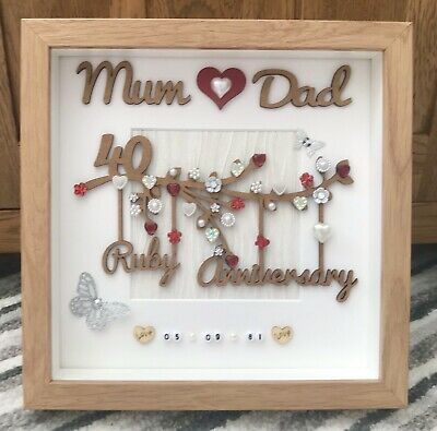 40th Wedding Anniversary Gifts.Personalised Handmade Ruby 40th Wedding Anniversary Gift Frame Mum Dad Love