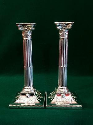 Victorian Tall Adam style candlesticks by Hawksworth Eyre & Co c1880