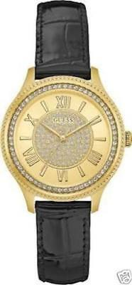 Guess Watch W0840l1 Madison Ladies Black Leather Strap Gold Round Face Crystals