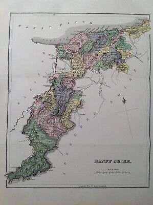 Banff Shire, 1882 Antique County Map, Bartholomew, Scotland, Atlas, Keith