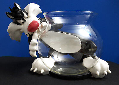 Vintage Large LOONEY TUNES SYLVESTER CAT CERAMIC FIGURE & FISH BOWL-ACME PET SHP