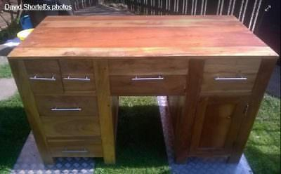 Solid Yew wood pedestal desk PLEASE USE BEST OFFER TAB
