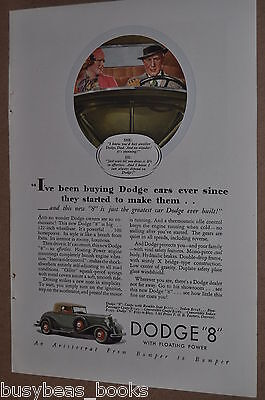 1933 Dodge advertisement, DODGE 8 convertible coupe, color art