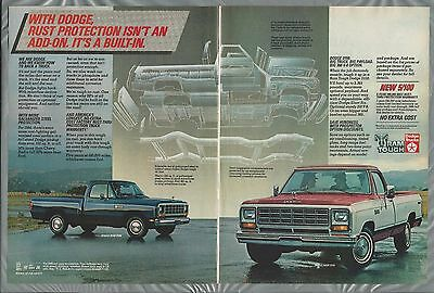 1983 DODGE RAM pickup 2-page advertisement, Dodge D150, D100 ad, rust proofing