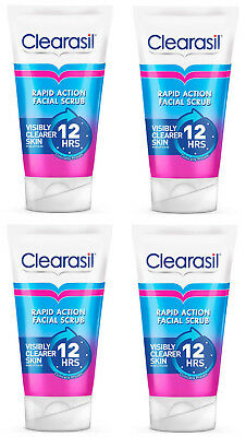 4 Tubes x Clearasil Rapid Action Scrub 125ml Spot Fighting Cleanser FREEPOST