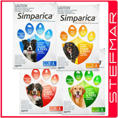 Simparica For Dogs Flea and Tick Treatment 6 Chews