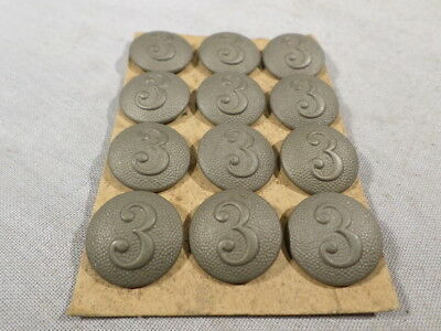 WWI and POST German Army UNUSED NOS 3 Third Regimental Buttons CARDED