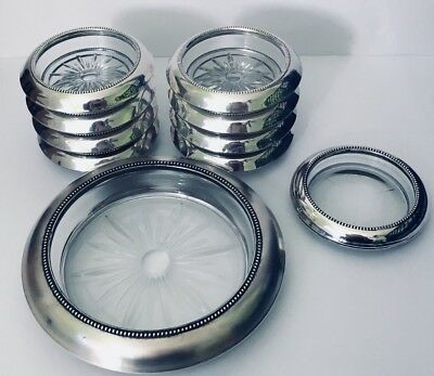 Lot 10 Frank M Whiting Vintage Coasters Sterling Glass Size 04 & 06