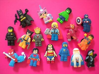 16 Lego Avengers jibbitz crocs shoe charms wrist hair loom band cake toppers