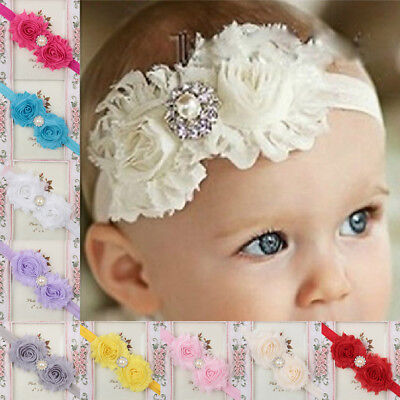 Fashion Headband Girl Turban Rhinestone Pearl Baby Newborn Kid Hair Band Lace