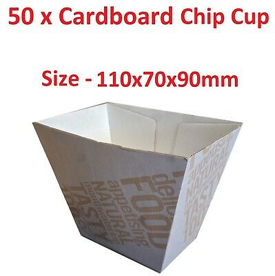 50 x Cardboard Chip Cup Enviro board Food Chip Takeaway Disposable Eco Friendly