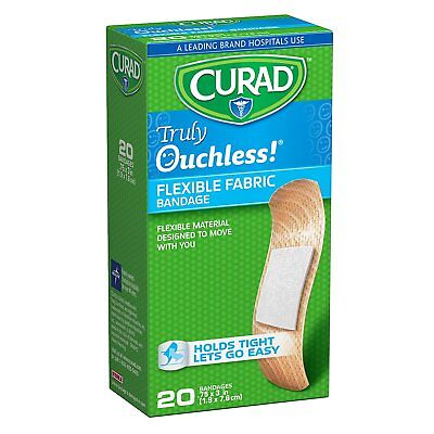 CURAD Truly Ouchless Silicone Bandages, Flexible Fabric, 20 count
