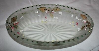 vintage frosted green depression glass painted dish oval