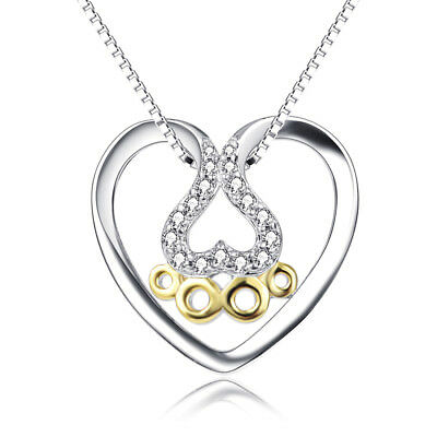 925 Sterling Silver Puppy Dog Paw Print Open Heart Pendant CZ Zirconia Necklace