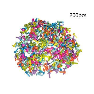 200X Metal Brad Paper Mixed Color Fastener For Scrapbooking Craft 8mm DE^