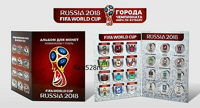 Russia, World Cup Fifa 2018 Football, cities colored 12 coins ,in album,new!