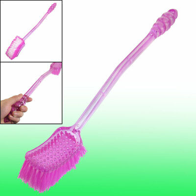 Antislip Curved Handle Bathroom Toilet Scrub Brush Tool Clear Fuchsia 18""