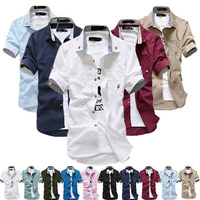 Mens Casual Shirts Slim Fit Short Sleeve Dress Business Shirts Solid 10 Colors