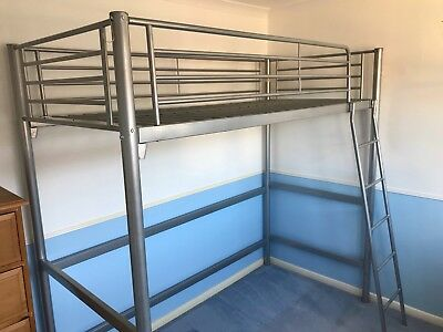 Cabin Bed High Sleeper Childs Loft With Ladder Metal Frame